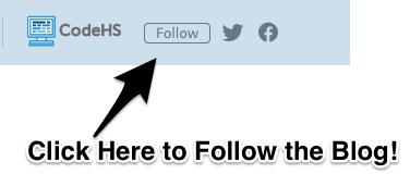 arrow points to follow icon next to CodeHS logo