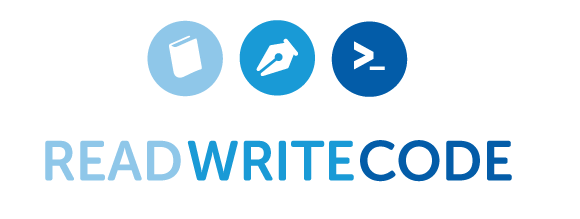 book, pen, input icon forming Read Write Code banner