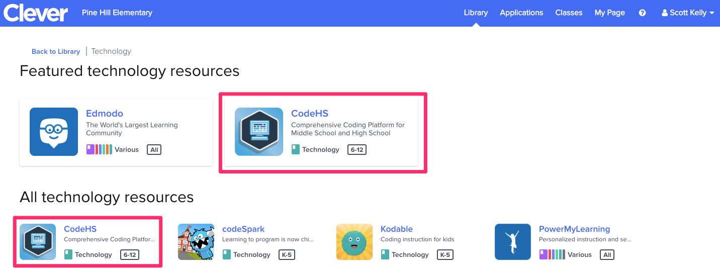Clever dashboard showing CodeHS icon